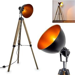 Lampadaire Jupiter vintage en métal noir/cuivré et bois naturel, pour ampoule E27 max 40 Watt, l'abat-jour rétro pivote, c...