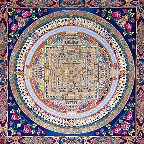 N / A Guanyin Mandala Thangka Moderna Poster e Stampe murali Dipinti su Tela Dipinti murali Quadri Soggiorno Decorazione della casa frameless30x30cm