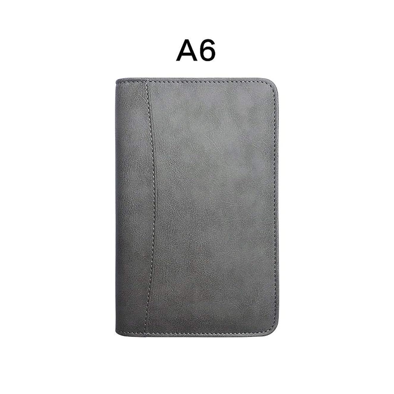厚手のノート ノートブックステーショナリールーズリーフA5ビジネス多機能B5ジッパーバッグハンドアカウントノートブックオフィス200ページ黒 ポータブル (Color : Gray, サイズ : 13*21cm)