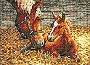 Dimensions Gold Collection Counted Cross Stitch Kit, Good Morning Horses, 18 Count Ivory Aida, 7'' x 5''