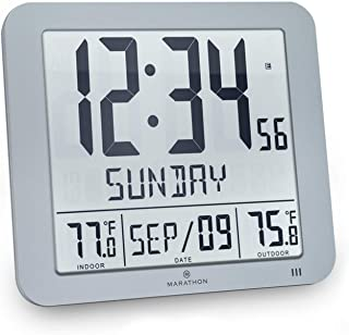 Marathon CL030027-FD-GG Slim Atomic Wall Clock with Indoor/Outdoor Temperature, Full Calendar and Large Display (New Full Display) Color: Graphite Grey