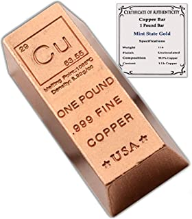 1 Pound Copper Bar Ingot Paperweight - 999 Pure Chemistry Element Design with Certificate of Authenticity by CoinFolio