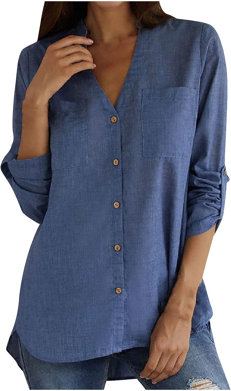Womens Denim Shirt Long Sleeve Color Pocket Super intense SALE Solid Philadelphia Mall Button Blouses