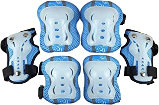 LIOOBO Kids Knee Pads Set 6 in 1 Kit Protective Gear Knee Elbow Pads Wrist Guards for Skateboard Biking Riding Cycling Rollerblading Blue