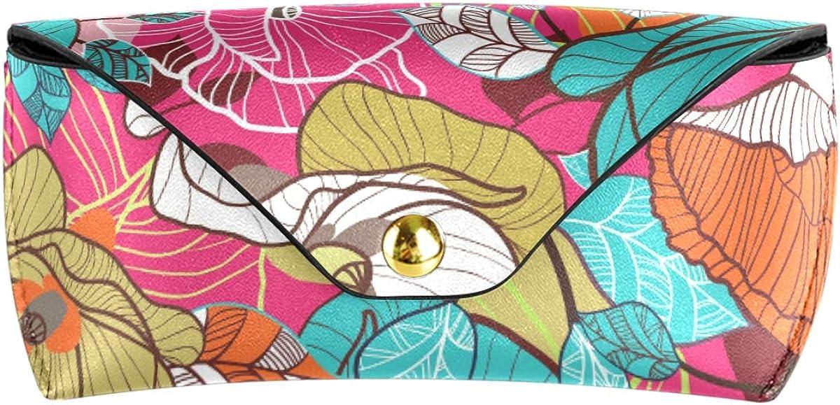 Goggles Bag Multiuse Cute Portable PU Leather Flower Floral Texture Sunglasses Case Eyeglasses Pouch