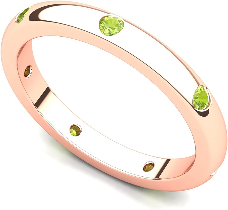 14k Rose Gold Bezel set Ring Elegant Peridot Band Semi shopping Eternity
