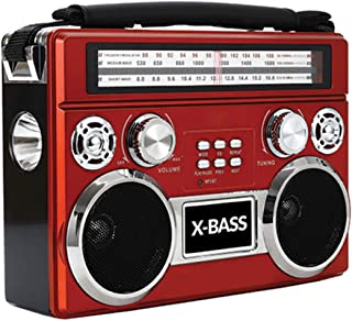Supersonic SC-1097BT-Red 3 Band Radio with Bluetooth and Flashlight (Red)