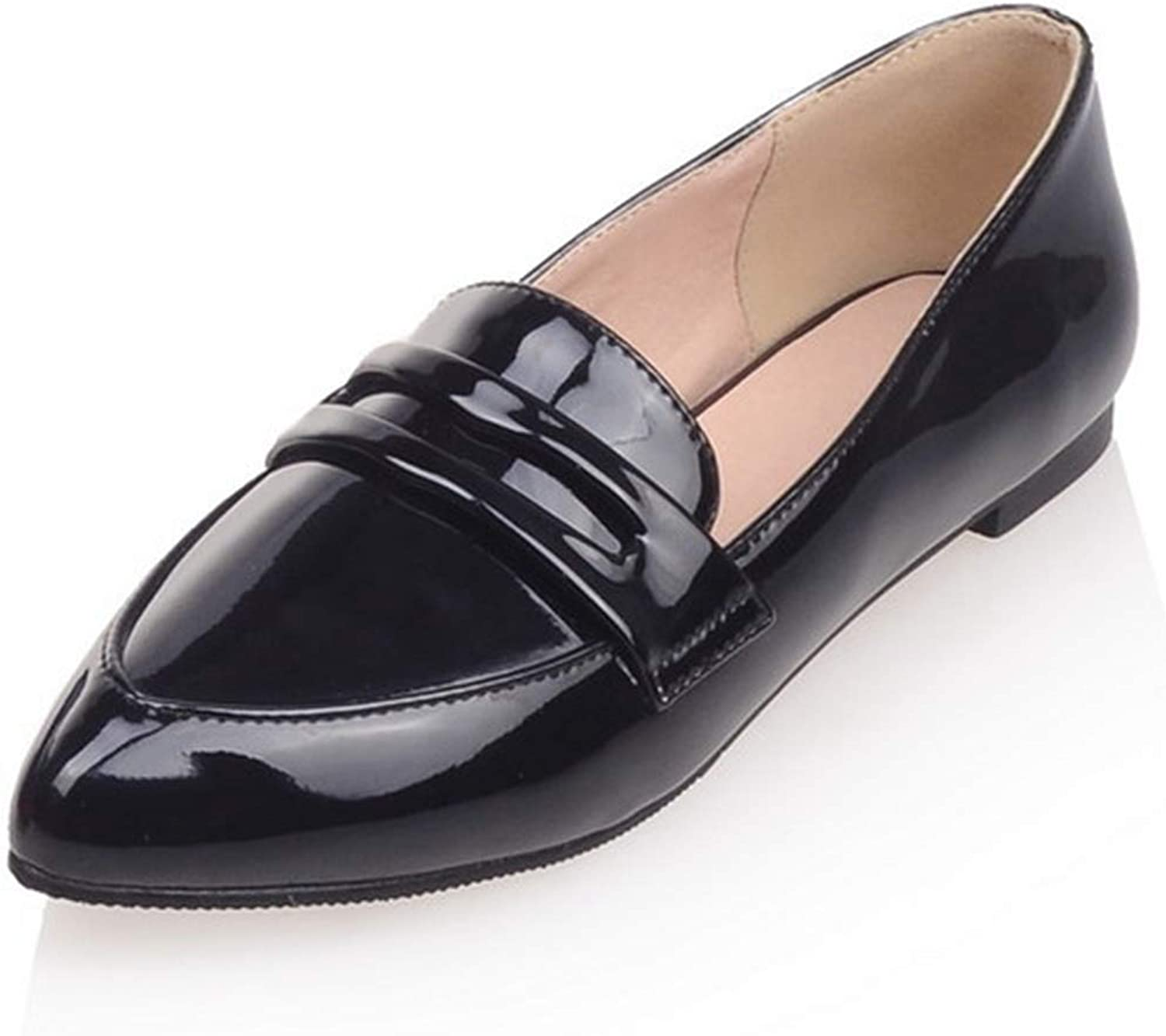Female Flat shoes Pointy Toe Leather Ladies Loafers Women Bag shoes Low Top Square Heel