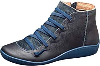 OcEaN Shoes Women's Flat Leather Retro Lace-up Bootie Zipper High Top Casual Shoe Ankle Boots