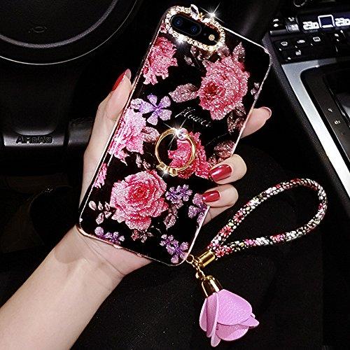 Funda para iPhone 8 Plus, iPhone 7 Plus, con purpurina, Ikasus con diamantes de imitación brillantes, anillo con soporte de rosas, colgante de silicona suave TPU para iPhone 8 Plus/7 Plus, 1