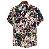 Camisa Hawaiana para Hombre - Funky Beach Shirt - Camisa De Verano De Manga Corta con Botones Y Flores De Palma Camisas Estampadas En 3D Cuello Doblado Informal para La Parte Superior De La