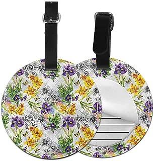 Baggage Tag Floral,Iris Flowers in Watercolors Animal Cartoon