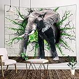 Tapiz de papel tapiz de animales en 3D, elefante sale de la pared blanca al piso con plantas de hojas, tapices para colgar en la pared, telón de fondo de TV hippie, impresión en 3D, 60 x 40 pulgadas