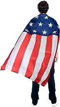 AMNPOLEN American Flag Costume Cape USA Patriotic Flag Cloak for Adult Men Women Child