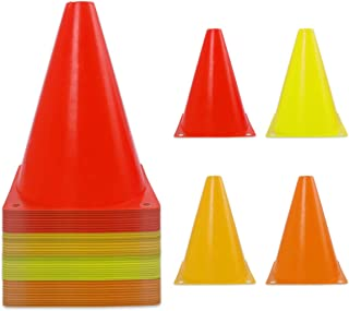 40 Pack 7 Inch Plastic Traffic Cones Sports Training Agility Marker Cones for Kids Games Indoor and Outdoor Sport, Theme P...