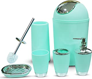 Mint Green Bathroom Accessories Set 6 Pieces Plastic Bathroom Accessories Toothbrush Holder, Rinse Cup, Soap Dish, Hand Sanitizer Bottle, Waste Bin, Toilet Brush with Holder