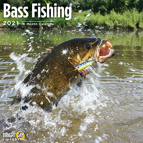 2021 Bass Fishing Wall Calendar by Bright Day, 12 x 12 Inch, Angler Sporting