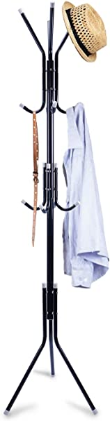 Clewiltess Standing Entryway Coat Rack Coat Tree Hat Hanger Holder 12 Hooks Jacket Umbrella Tree Stand Base Metal Black