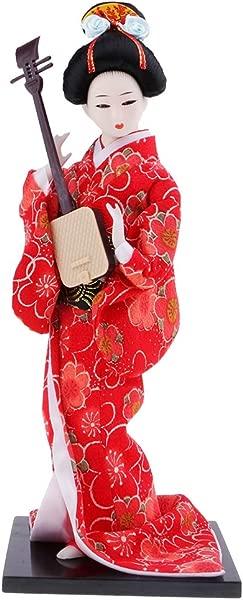Flameer Japanese Geisha Doll Vintage Beautiful Kimono Fabric Kokeshi Doll For House Business Decoration Shown 4