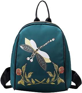 Mochilas Mujer Casual,Moda bordado estilo mochila libélula imprimir mochila de viaje escuela bolsa LMMVP