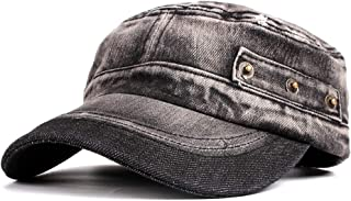 91b515ca Vintage Washed Denim Cotton Peaked Baseball Cap Distressed Cadet Army Cap  Military Hat Visor Flat Top