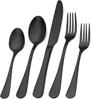 Matte Black Silverware Set , Satin Finish 20-Piece Stainless Steel Flatware Set,Kitchen Utensil Set Service for 4,Tableware Cutlery Set for Home and Restaurant, Dishwasher Safe