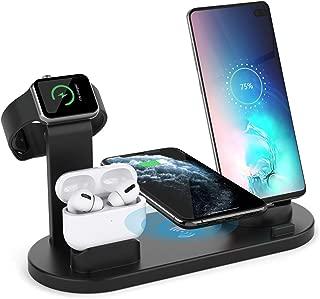 ワイヤレス充電スタンド AEOEO Airpods pro/iPhone/Apple Watch充電器 4in1 急速充電器 置くだけ充電 ワイヤレス充電器 iPhone 11 / 11 Pro/XS/XS Max/XR/ 8 / 8 Plus、Galaxy S10 / S10+ / S9 / S9+/S8 / S8+/Note 9 などにも対応 その他Qi対応機種も適用