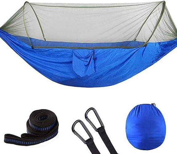 Llsdls Hamac de Camping avec moustiquaire-Portable-Outdoor, Randonnée, Randonnée, Voyage, Plage, Jardin-250cm (8.2foot) x120cm (3.9foot) -Bleu