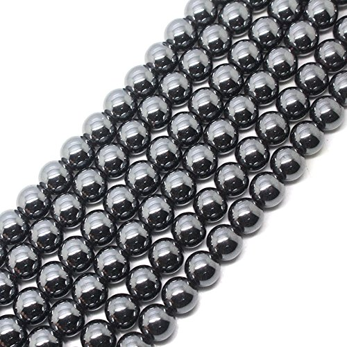 jennysun2010 5mm Natural Non-Magnetic Hematite Gemstone Round Ball Beads 16'' Inches Metallic Black 1 Strand for Bracelet Necklace Earrings Jewelry Making Crafts Design Healing
