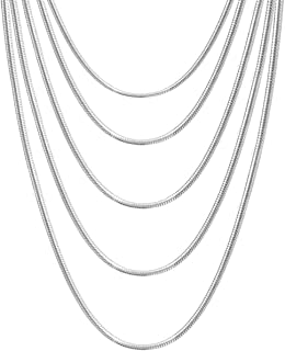 5 pcs 925 sterling silver 32\u201d 1mm snake chain necklaces