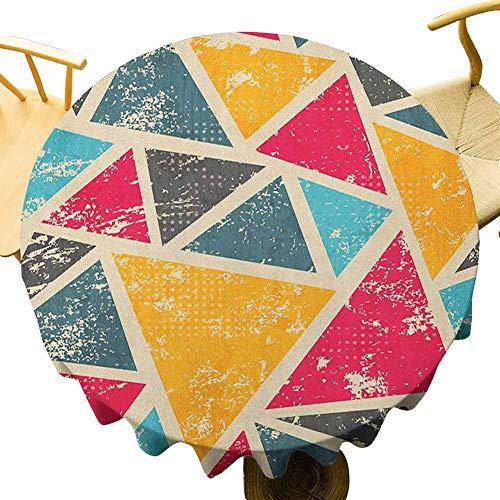 VICWOWONE Mantel retro – 35 pulgadas elegante mantel redondo Funk Art estilizado abstracto geométrico grunge triángulos turbio diseño gráfico artístico de secado rápido Multicolor