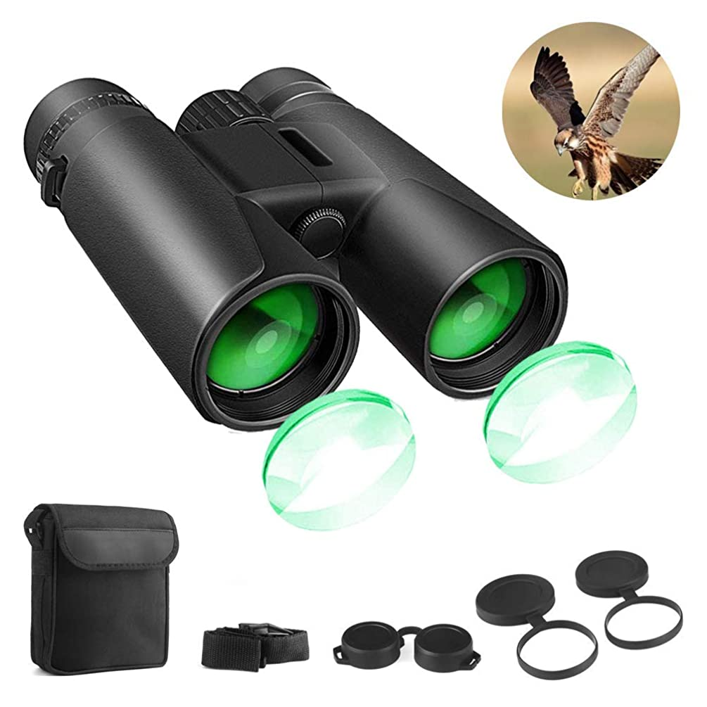 Binoculars for Adults, 12x42 HD Compact Binoculars for Bird Watching Hunting Traveling Concerts Sports with Weak Night Vision, BAK4 Prism FMC Lens with Strap Carrying Bag