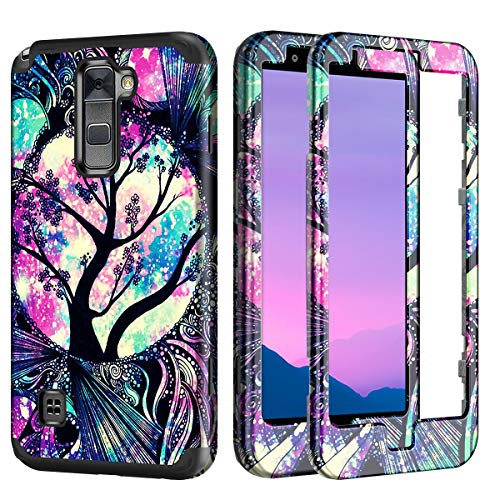 Lamcase for LG Stylus 2 / LG Stylo 2 Case Shockproof Three Layers Hard PC & Flexible Silicone High Impact Durable Bumper Drop Protective Case Cover for LG Stylus 2 / LG Stylo 2 (LS775), Life Tree