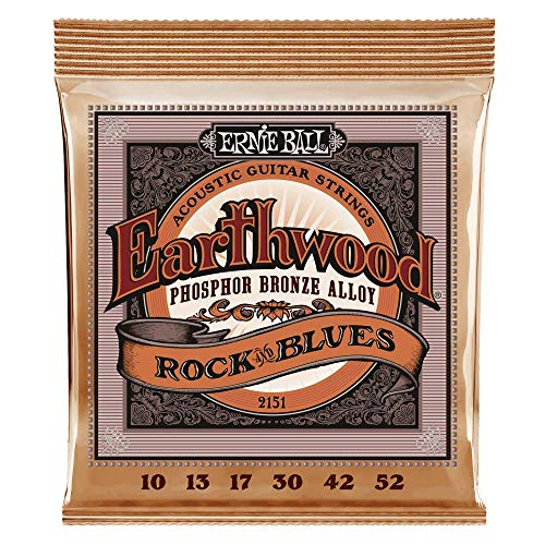 Ernie Ball Earthwood Rock y Blues w/Plain G Cuerdas de guitarra acústica de bronce fosforado - 10-52 Gauge