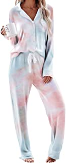 Sidefeel Women Long Sleeve Button Down Shirt with Pants Casual Pajama Sets