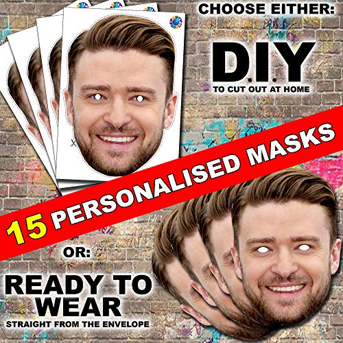 15 x Personalised DIY Custom Photo Face Masks kits for Hen, stag, birthday party etc to make at home
