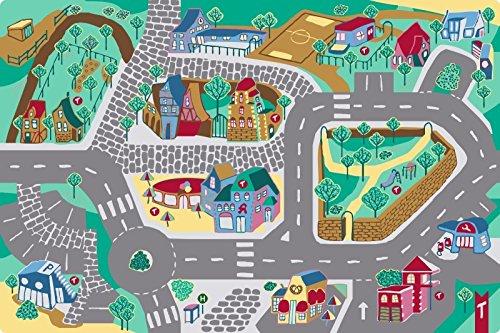 Teppino Spielteppich Kinderteppich Meine Stadt mit interaktivem Lernspiel