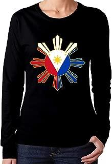 Filipino Flag Women's Long Sleeve T-Shirt Cotton Crew Neck Tee