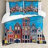 ABAKUHAUS Ámsterdam Funda Nórdica, Canal Famosa, Estampado Lavable, 3 Piezas con 2 Fundas de Almohada, 200 cm x 200 cm - 80 x 80 cm, Multicolor