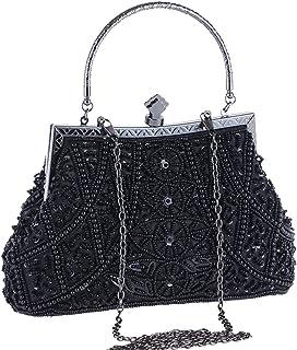 BABEYOND 1920s Flapper Clutch Gatsby Pearl Handbag Roaring 20s Evening Clutch Beaded Bag 1920s Gatsby Costume Accessories