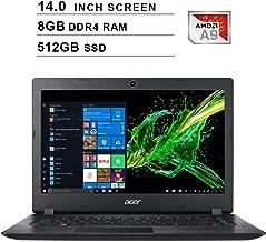 2020 NexiGo Newest Aspire 3 14 Inch Premium Laptop| AMD A9-9420e up to 2.7GHz| 8GB DDR4 RAM| 512GB SSD| AMD Radeon R5| WiFi| Bluetooth| HDMI| Webcam| Windows 10 Home| Black