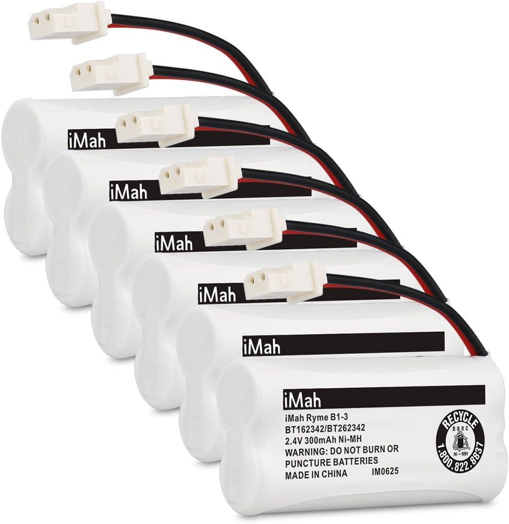 iMah Ryme B1-3 BT162342 BT262342 Cordless Phone Batteries Compatible with VTech CS6409 CS6419 CS6429 CS80100 AT&T CL81101 EL5210 EL52400 Handset Telephone (Pack of 6)