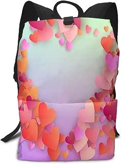 Laptop Backpack Heart Confetti Pattern Valentine Background School Back Pack Rucksack Daypack for Women Men
