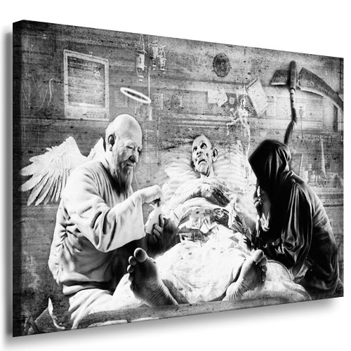 Fotoleinwand24 - Banksy Graffiti Art Game of Life / AA0104 / Bild auf Keilrahmen/Schwarz-Weiß / 100x70 cm