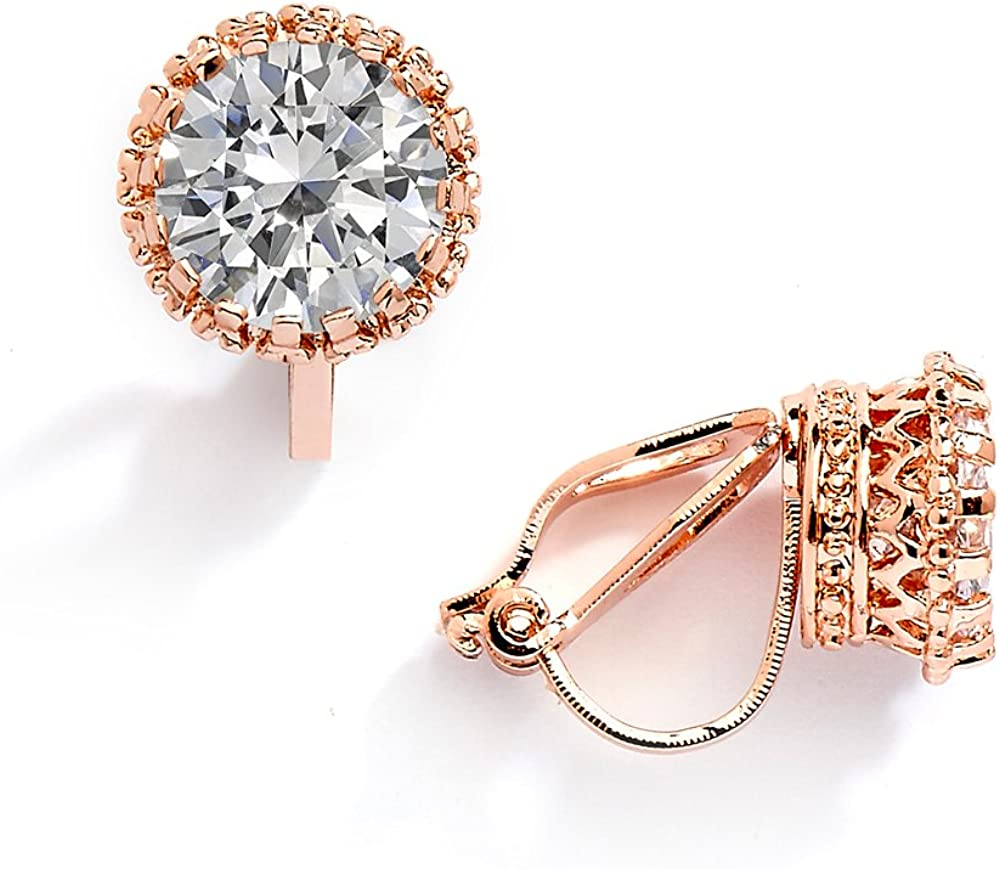 Mariell 14K Rose Gold Plated Crown Setting Clip-On Cubic Zirconia Stud Earrings - 2 Ct. Round Solitaire