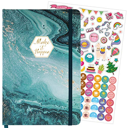 Bullet Dotted Journal - Dotted Grid Notebook/Journal with Hardcover, 5.7''×8.5'', Premium Thick Paper, Large Inner Pocket with 7 inches ruler and Colorful Stickers, Beautiful Classic Quicksand Pattern