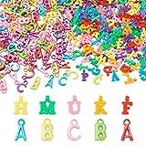 Beadthoven 260 g/set di ciondoli a forma di alfabeto in plastica ABC perline colorate acriliche casuali con lettera iniziale per collane, creazione di gioielli per bambini, artigianato educazione