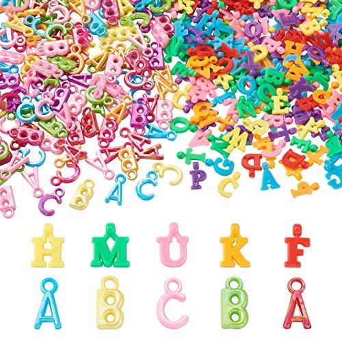 Beadthoven 260 g/set de abalorios de plástico del alfabeto ABC, cuentas coloridas acrílicas al azar con letra inicial para collares, pulseras, joyas, manualidades y educación