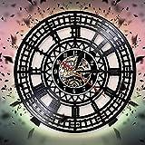 KDBWYC Misteriosa decoración artística de Pared de Magia nórdica para Sala de Estar, Reloj de Pared con brújula vikinga, Relojes de Pared con Discos de Vinilo Colgantes Negros Vintage