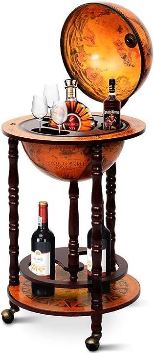 Mappamondo bar con ruote mobili, porta liquori stile retrò, 88 x 45 x 45cm (marrone) costway HW47195IT